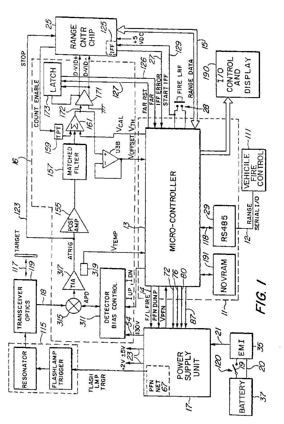 Laser Range Finder Receiver Patent 0757257 Transimpedance Amplifier Detector Circuit With Limited Q The Microcontroller 13 Further Monitors Photodetector Temperature Via A Sensor 319 And Can Perform Apd Bias Adjustment