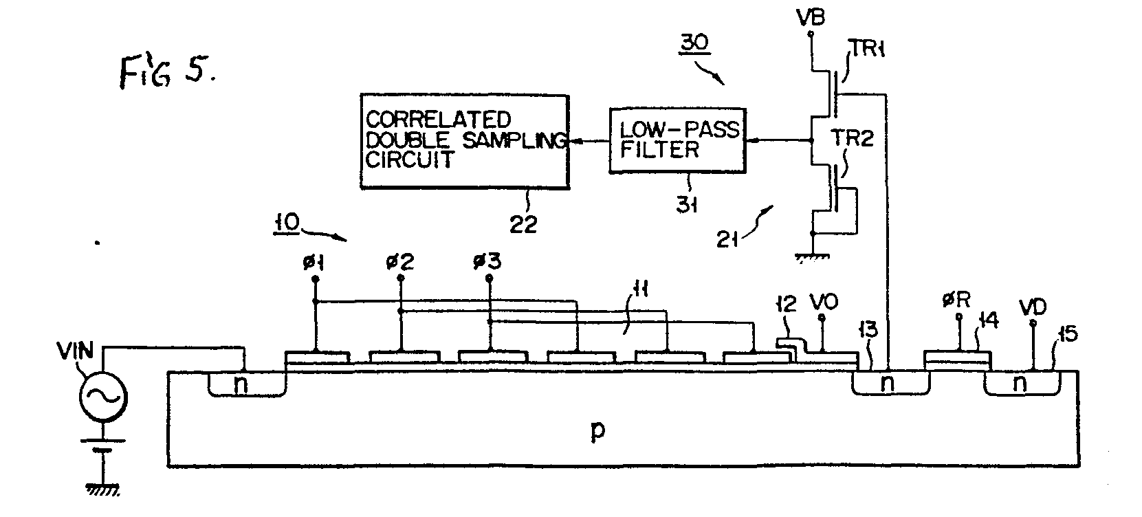 Ccd Output Signal Generating Circuit Patent 0172474 Lowpass Filter Diagram Basiccircuit 21 And The Correlated Double Sampling 22 Acts To An From Before Supplying