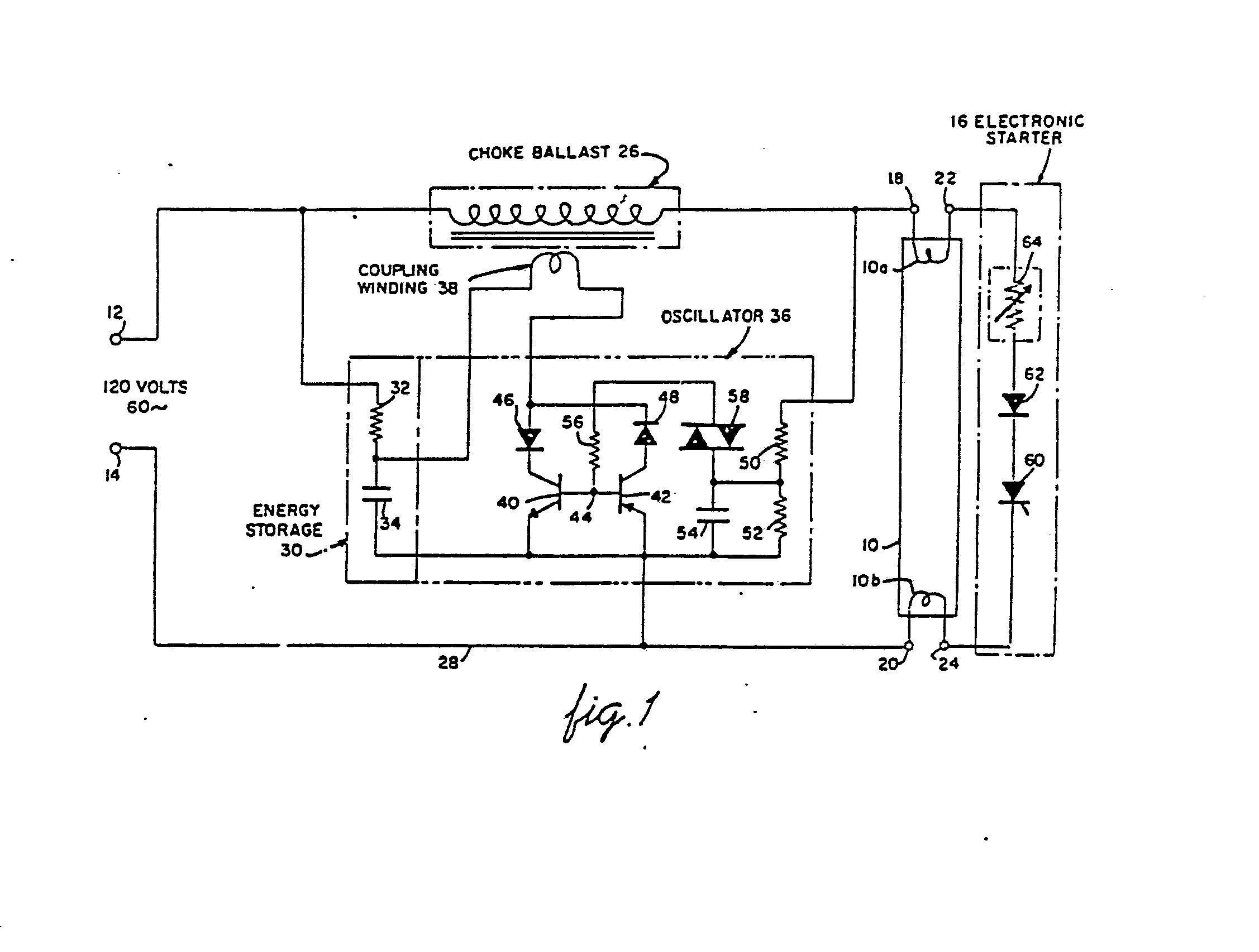 Low Voltage Fluorescent Lamp Operating Circuit Patent 0031933 Basic Oscillatory Circuits Electronic And Diagram Combination With An Starter 16 Comprising A Ptc Resistor 64 Silicon Diode 62 Scr 60 Series Connected Across The