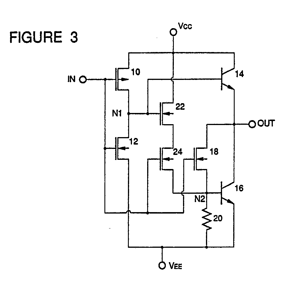 Bicmos Logic Circuit Patent 0361841 Diagram Images The First Mos Transistor 22 Has A Gate Connected To Output Of And Second 24