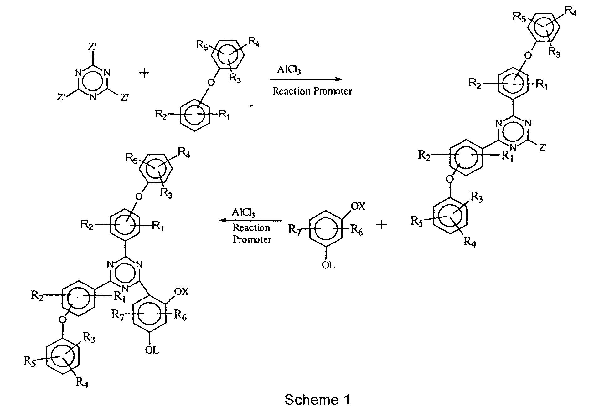 Phenyl ether-substituted hydroxyphenyl triazine ultraviolet